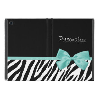 Trendy Zebra Print Aqua Mint Ribbon With Name iPad Mini Covers