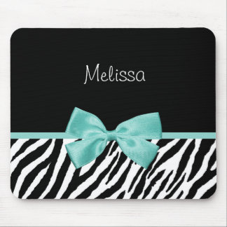 Trendy Zebra Print Aqua Mint Ribbon With Name Mouse Pad