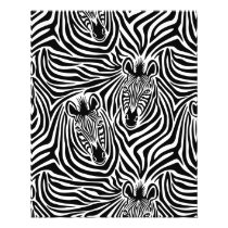 Trendy Zebra Print Black And White Pattern Flyer