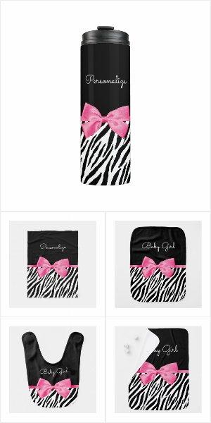 Trendy Zebra Print Chic Hot Pink Bow