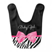 Trendy Zebra Print Chic Hot Pink Bow and Name Baby Bib