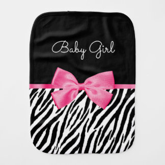 Trendy Zebra Print Chic Hot Pink Bow and Name Baby Burp Cloth