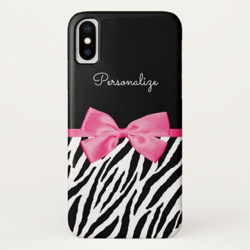 Trendy Zebra Print Chic Hot Pink Bow and Name Phone Case