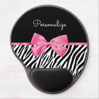Trendy Zebra Print Chic Hot Pink Bow and Name Gel Mouse Pad