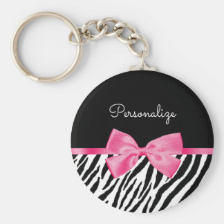 Trendy Zebra Print Chic Hot Pink Bow and Name Keychain