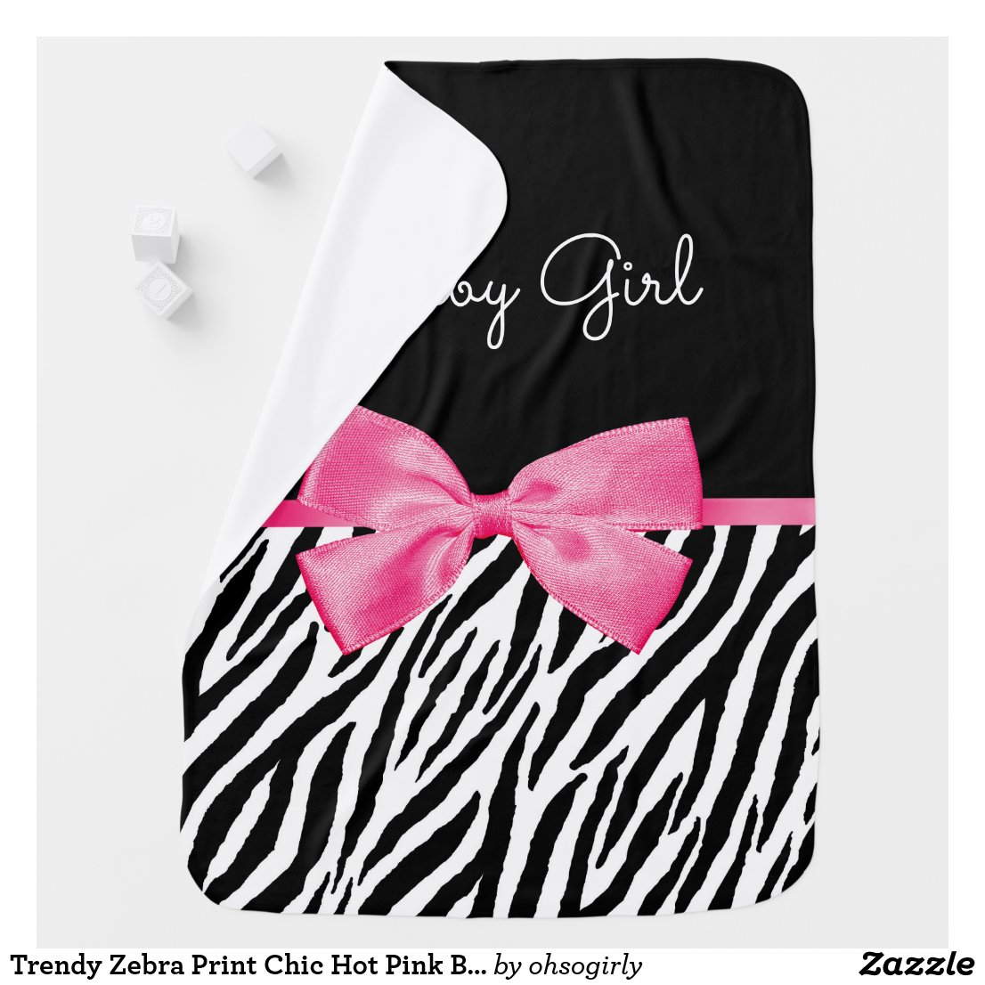 Trendy Zebra Print Chic Hot Pink Bow and Name Swaddle Blanket
