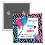 Trendy Zebra Print Gender Reveal Baby Shower Buttons