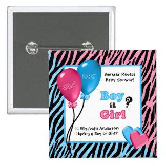 Trendy Zebra Print Gender Reveal Baby Shower Button