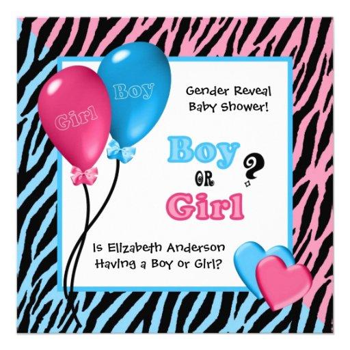 Trendy Zebra Print Gender Reveal Baby Shower Custom Announcements