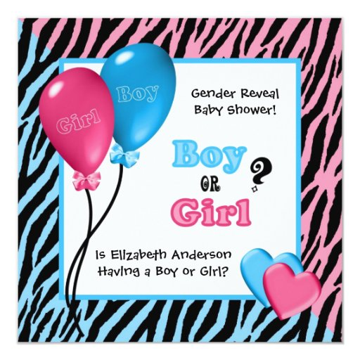 "Trendy Zebra Print Gender Reveal Baby Shower 5.25"" Square Invitation Card"
