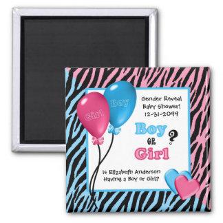 Trendy Zebra Print Gender Reveal Baby Shower Refrigerator Magnets