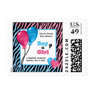 Trendy Zebra Print Gender Reveal Baby Shower Postage Stamp