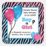 Trendy Zebra Print Gender Reveal Baby Shower Sticker