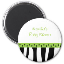 Trendy Zebra Print Lime Green Favor Magnets