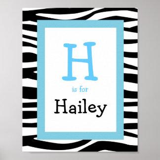 Trendy Zebra Print Nursery Wall Art Name Print