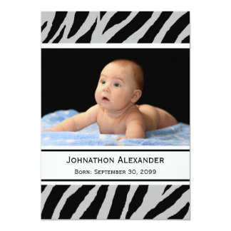 Trendy Zebra Print Photo Birth Announcement