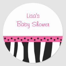 Trendy Zebra Print Pink Envelope Seals Stickers