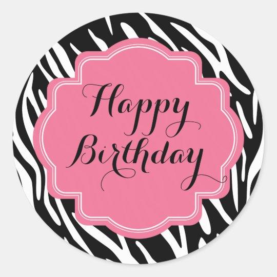 Trendy Zebra Print Pink Happy Birthday Stickers