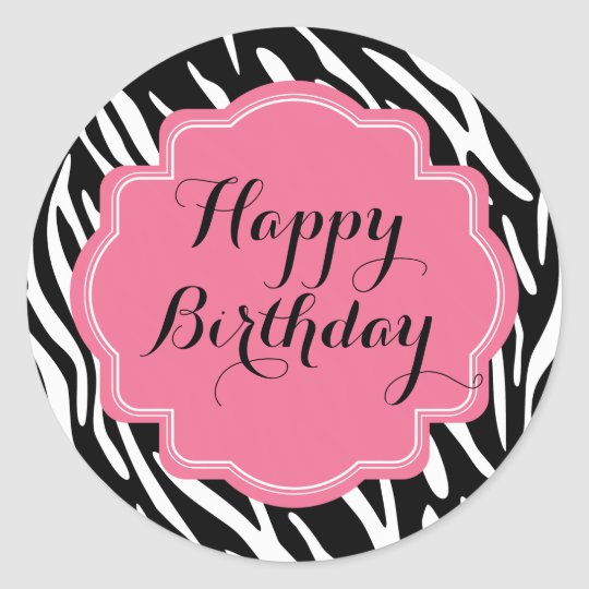 Trendy Zebra Print Pink Happy Birthday Stickers