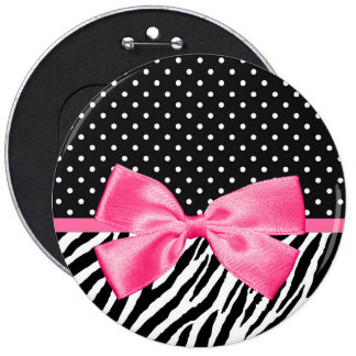 Trendy Zebra Print Polka Dots and Chic Pink Ribbon Pinback Button