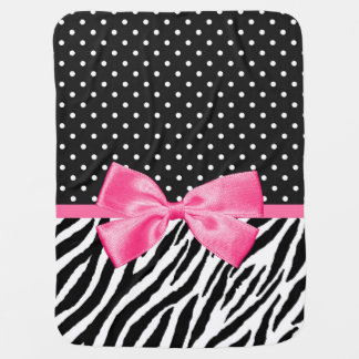 Trendy Zebra Print Polka Dots and Chic Pink Ribbon Swaddle Blanket
