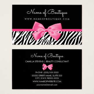 Trendy Zebra Print With Chic Pink Bow Boutique Business Card