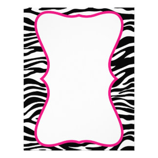 Trendy Zebra Print with Pink Customized Letterhead