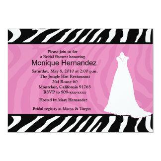 TRENDY ZEBRA STRIPE Pink Bridal Shower 5x7 Card