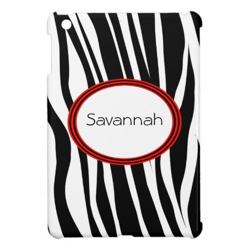 Trendy Zebra Stripes With Red Striped Seal iPad Mini Case