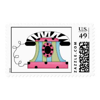 Trendy Zebra Telephone Postage Stamps