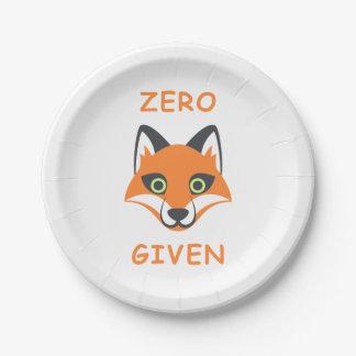 Trendy Zero Fox Given phrase Emoji Cartoon Paper Plate