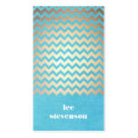 Trendy Zig Zag Pattern Turquoise Linen Look Business Cards