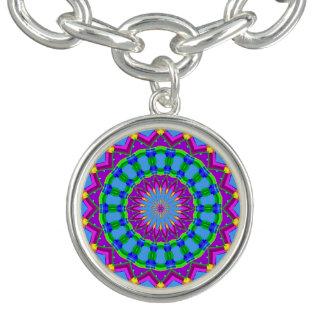 Trendy Zigzag Blue and Purple Kaleidoscope Circle Bracelet