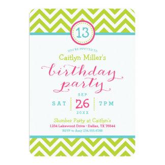 Trendy Zigzag Chevron Birthday Party Invitation