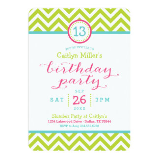 "Trendy Zigzag Chevron Birthday Party Invitation 5"" X 7"" Invitation Card"