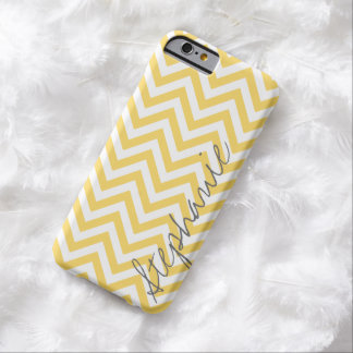 Trendy Zigzag Chevron Pattern Yellow Gray Name Barely There iPhone 6 Case