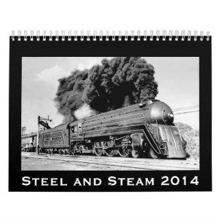 Trenes 2014 del vintage del acero y del vapor calendario de pared