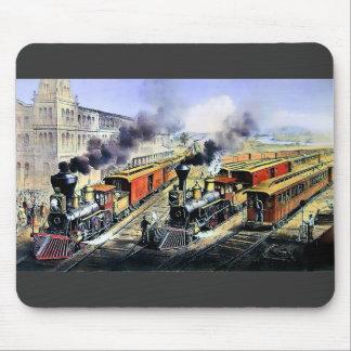 Trenes americanos del motor de vapor del ferrocarr alfombrillas de ratones
