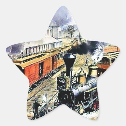 Trenes americanos del motor de vapor del ferrocarr calcomanías forma de estrellas personalizadas