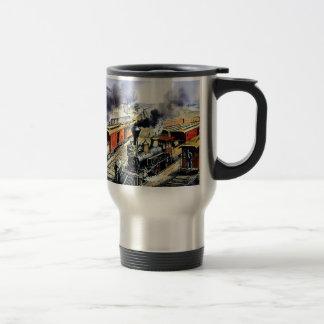 Trenes americanos del motor de vapor del ferrocarr tazas de café