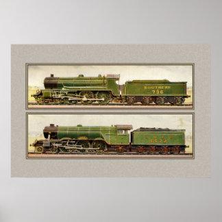 Trenes británicos del vapor del vintage poster