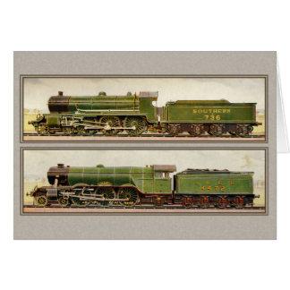 Trenes británicos del vapor del vintage tarjeta de felicitación
