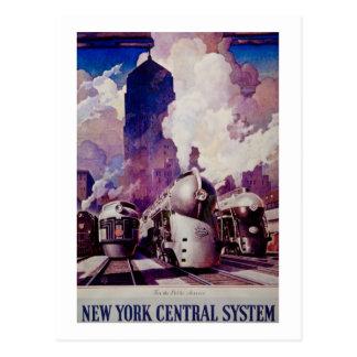 Trenes centrales del vintage del ferrocarril de tarjeta postal