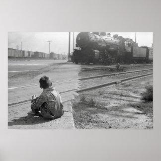 Trenes de observación del muchacho, 1939. Foto del Póster