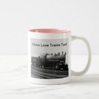 ¡Trenes viejos del amor de las modas también!  Taza De Dos Tonos