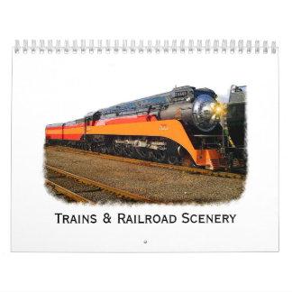 Trenes y calendario de pared del paisaje del ferro