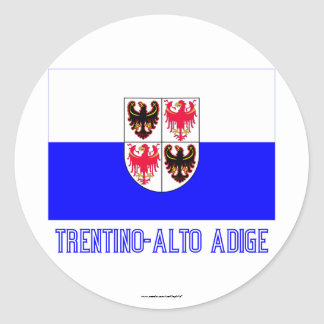 Trentino-Alto Adige flag with name Classic Round Sticker