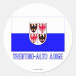 Trentino-Alto Adige flag with name Classic Round Sticker