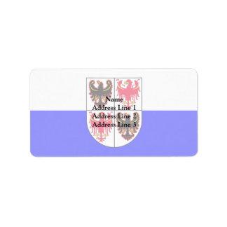 Trentino-Sur bandera del Tyrol, Italia Etiqueta De Dirección