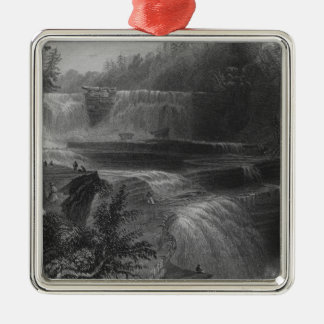 Trenton High Falls, 1838 Square Metal Christmas Ornament